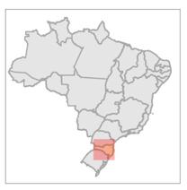 Localisation de la Forêt Modèle Caçador sur la carte du Brésil