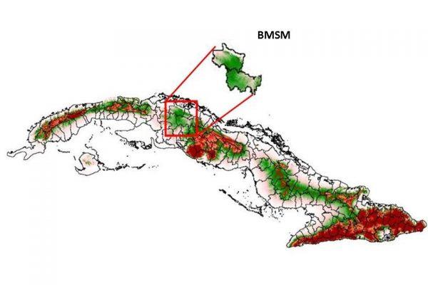 Carte de Cuba situant la Forêt Modèle Sabanas de Manacas