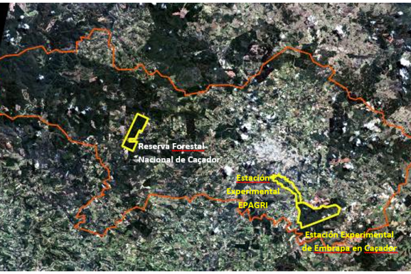 Localisation des bases de la Forêt Modèle Caçador (Station expérimentale Embrapa à Caçador, Station expérimentale EPAGRI et Réserve forestière nationale de Caçador)