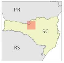 Localisation de la Forêt Modèle Caçador dans l'état de Santa Catarina