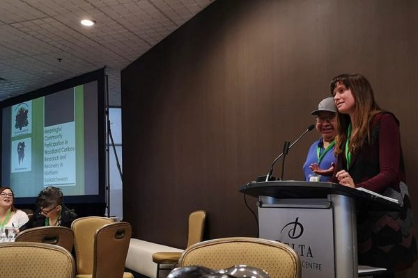 Sarah Schmid- General Manager of PAMF and Robin McLeod, Prince Albert Grand council presenting at the North American Caribou Workshop in Ottawa, 2018