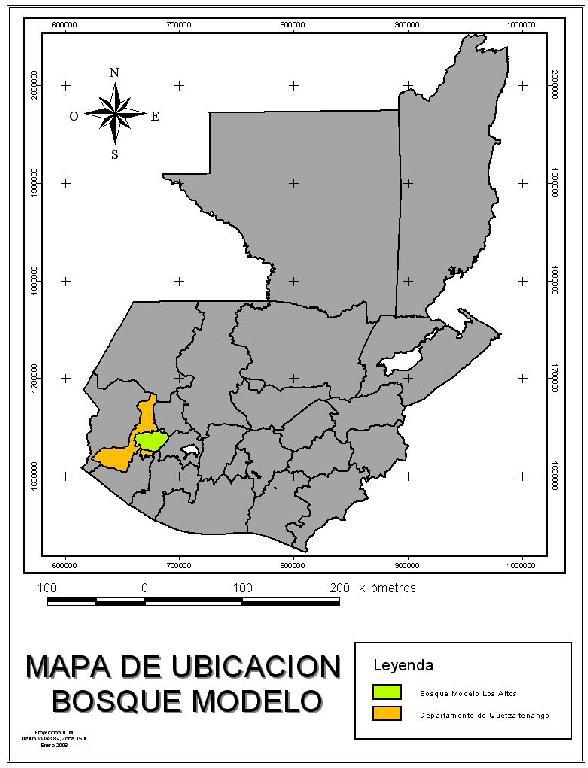 Localisation de la Forêt Modèle Los Altos sur la carte du Guatemala
